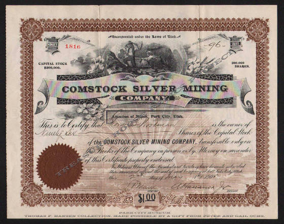 Comstock Silver Mining Co. stock certificate.