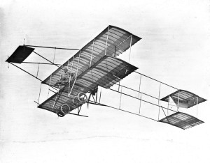 Louis Paulhan making his record flight, flying at 4,600 feet, in his Henry Farman biplane in Los Angeles (January 12, 1910).