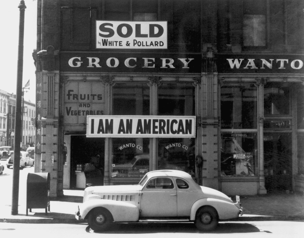 A Japanese American grocery. Photograph by Dorothea Lange (March 1942).
