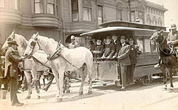 Sutter Street Railway's last horse-drawn car (1913).