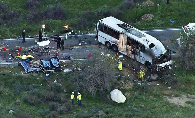 Tour bus crash on Hwy  38 (2013)  this week in california