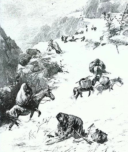 The Donner Party stranded in the Sierra Nevada Range (1847). Photo courtesy: True Tales of the West, (Castle Books, 1985).