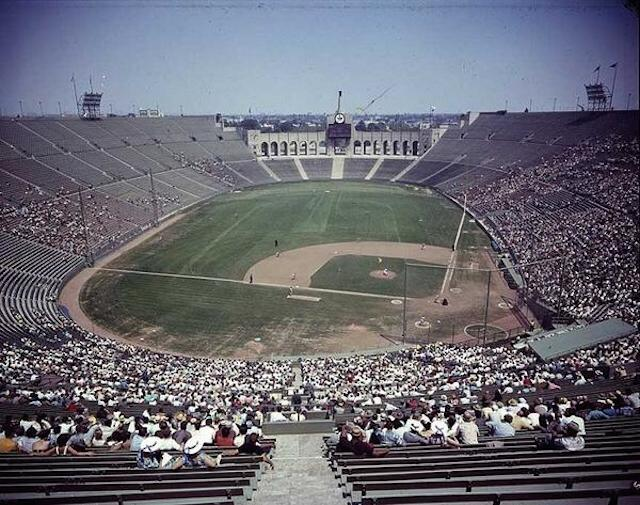 Los Angeles Dodgers 42-foot high screen in left field at the Coliseum.