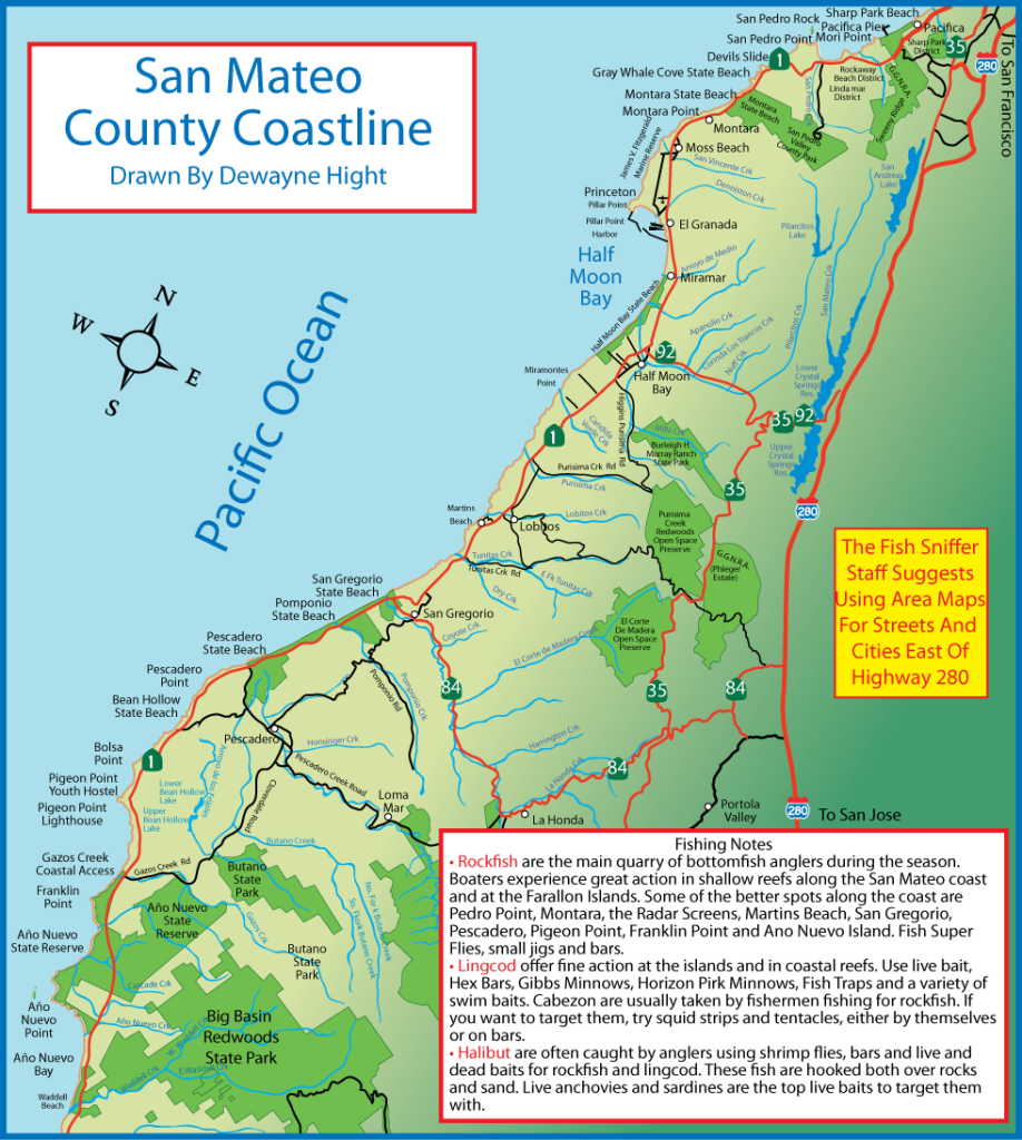 San Mateo County Coastline, drawn by Dewayne Hight.