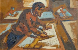 """Drafting"" by Claude Clark (1940)."