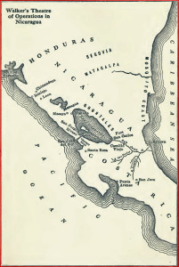 William Walker map Nicaragua showing his idea for a canal.