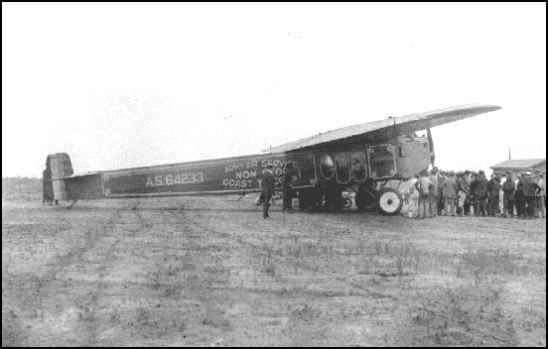Army Fokker T-2 flown on the first nonstop transcontinental flight.