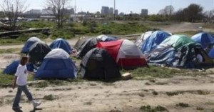 Homeless camp in Sacramento.