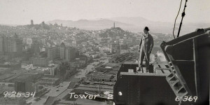 Bay Bridge History. worker on west span tower 2 (1936).