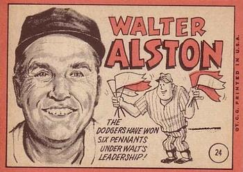 Walt Alston, Topps #24 back (1969).