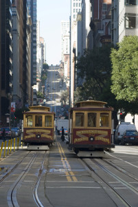 california street cable cars looking towards nob hill, san francisco