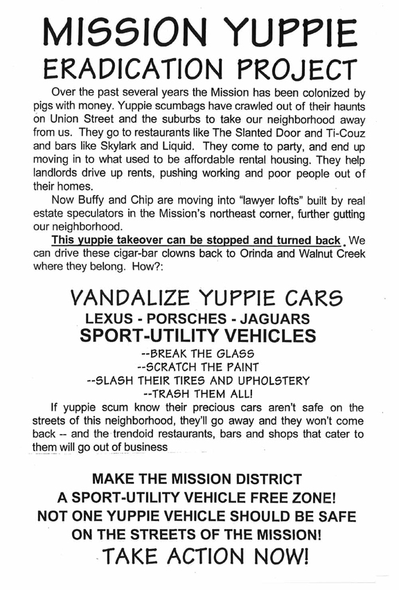 Mission Yuppie Eradication Project (1999).