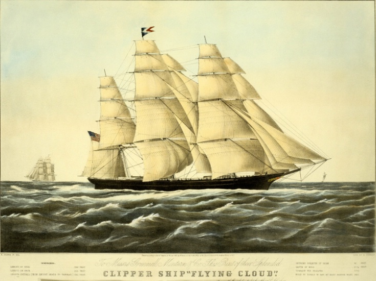 """Clipper Ship Flying Cloud"" by Nathaniel Currier (1852)."