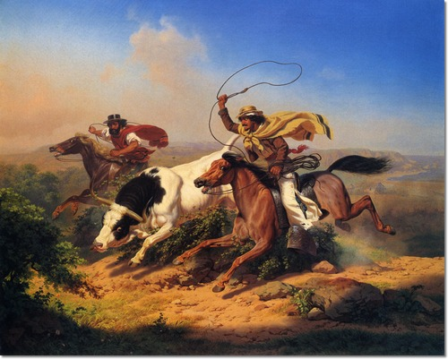"""Vaqueros Roping a Steer"" by Charles Nahl (1866)."