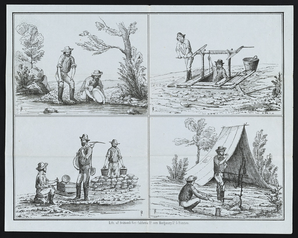 Miners panning for gold, entering a mine shaft, miners with equipment and miners cooking at camp (1850s). Lithograph by Britton & Rey.