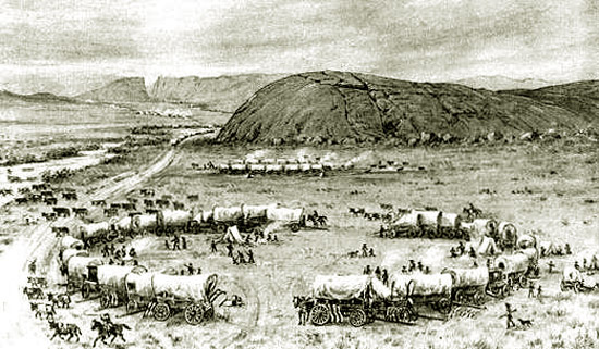 Independence Rock looking west with Devil's Gate in the distance (1850).